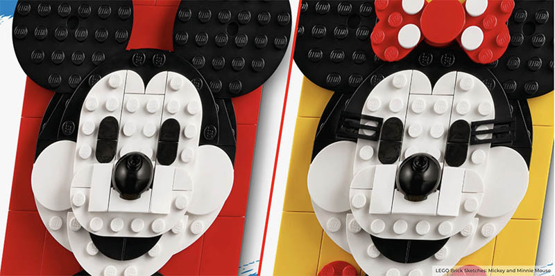 Mickey Mouse 40456 & Minnie Mouse 40457 Brick Sketches: Official Photos