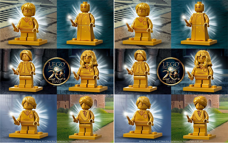 REVEALED!! LEGO Harry Potter 20th Anniversary Golden Minifigures