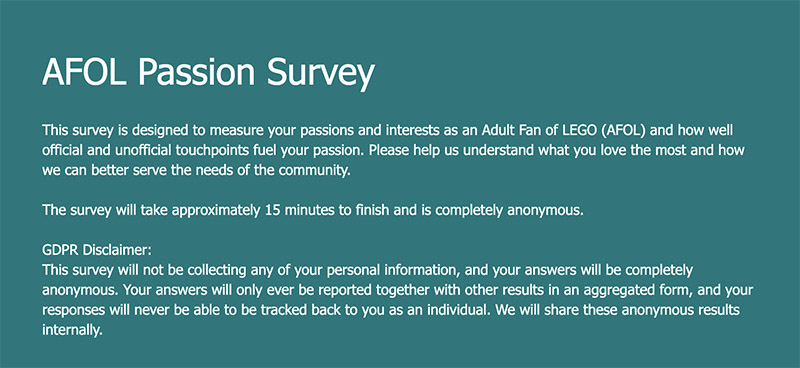 What Are You Passionate About? AFOL Survey